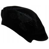 Béret bonnet femme cachemire broderies noir CELINE