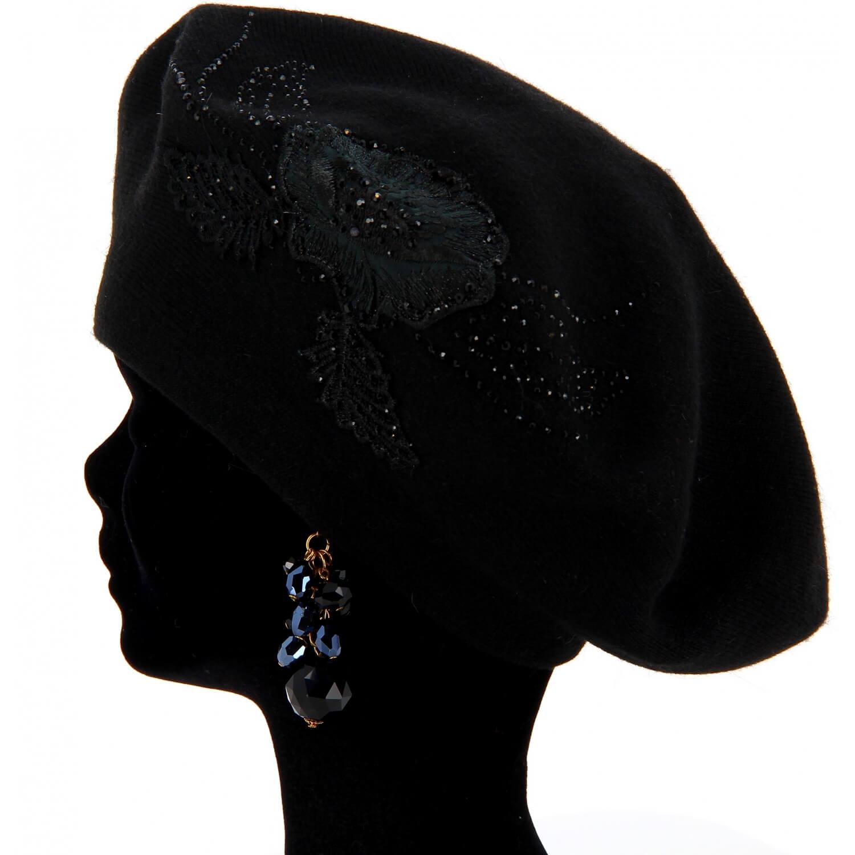 Béret bonnet femme cachemire broderies CELINE Noir