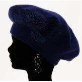 Béret bonnet femme cachemire broderies bleu CELINE