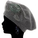 Béret bonnet femme cachemire broderies gris CELINE