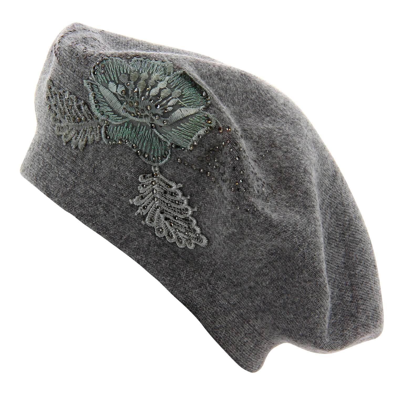 5e1f03e50986f Béret bonnet femme cachemire broderies gris CELINE