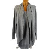 Pull long + écharpe longue pompons hiver bohème gris CYPRIEN