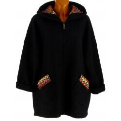 Manteau femme grande taille capuche bouclette noir CUBA