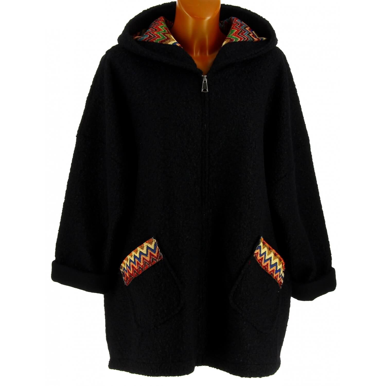 nouveau produit 325c0 7fe55 Manteau femme grande taille capuche bouclette noir CUBA