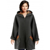 Manteau femme grande taille capuche bouclette gris CUBA