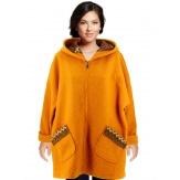 Manteau femme grande taille capuche bouclette safran CUBA