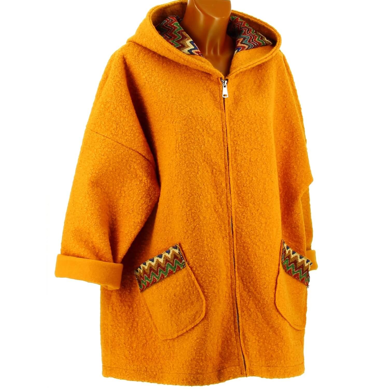 date de sortie tout à fait stylé doux et léger Manteau femme grande taille capuche bouclette safran CUBA