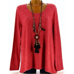 Pull tunique laine angora bohème rouge FRIDA