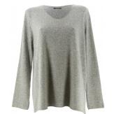 Pull tunique laine angora bohème gris clair FRIDA