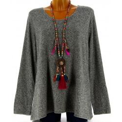 Pull tunique laine angora bohème gris foncé FRIDA