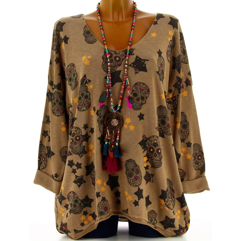 tunique tee shirt grande taille skull camel banus. Black Bedroom Furniture Sets. Home Design Ideas