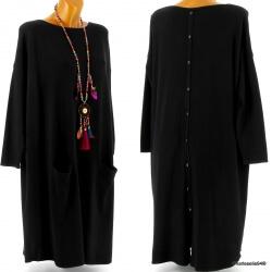 Robe pull longue femme grande taille noir TAILA