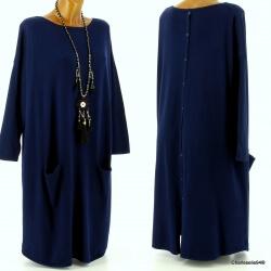 Robe pull longue femme grande taille bleu marine TAILA