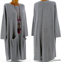 Robe pull longue femme grande taille gris TAILA