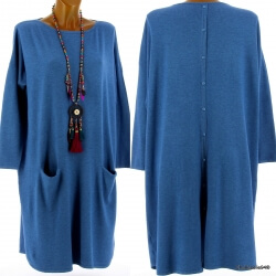 Robe pull longue femme grande taille bleu jean TAILA