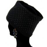 Bonnet bandeau femme laine polaire strass noir CYNDI