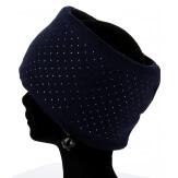 Bonnet bandeau femme laine polaire strass bleu CYNDI