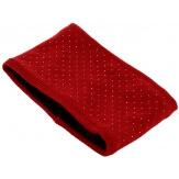 Bonnet bandeau femme laine polaire strass rouge CYNDI