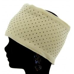 Bonnet bandeau femme laine polaire strass CYNDI Beige-Bonnet femme-CHARLESELIE94