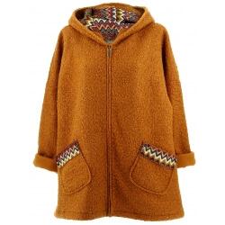 Manteau femme grande taille capuche bouclette camel CUBA