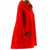 Manteau femme grande taille capuche bouclette rouge CUBA
