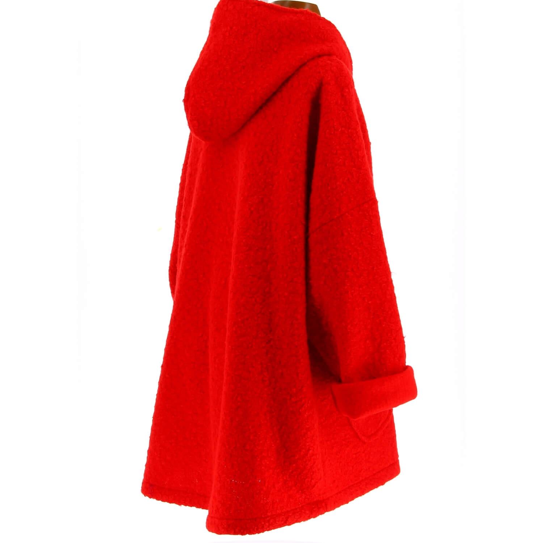 Manteau Grande Cuba Rouge Capuche Bouclette Femme Taille lcT1JFK