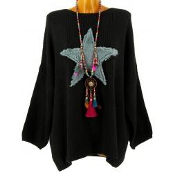 Pull long épais laine mohair étoile bohème noir CASSANDRA