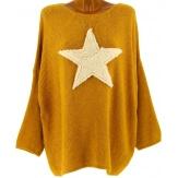 Pull long épais laine mohair étoile bohème ocre CASSANDRA