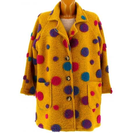 Manteau femme grande taille laine moutarde COCCINELLE