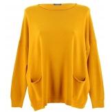 Pull tunique hiver poches ample moutarde ALINA