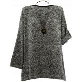 Tunique pull grande taille hiver gris KATE