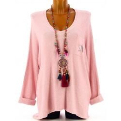Pull femme grande taille laine rose DARIA