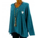 Pull femme grande taille laine bleu canard DARIA