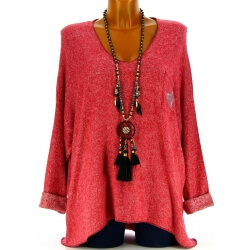 Pull femme grande taille laine rouge DARIA