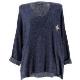 Pull femme grande taille laine bleu marine DARIA