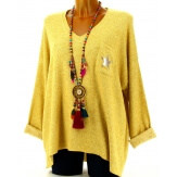 Pull femme grande taille laine moutarde DARIA