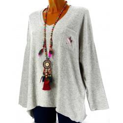 Pull femme grande taille laine gris clair DARIA