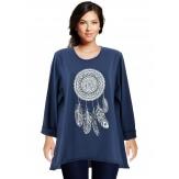 Tunique grande taille tee shirt bleu marine DREAM