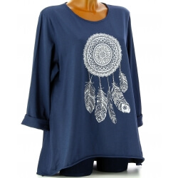 Tunique grande taille tee shirt bleu marine DREAM