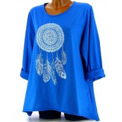 Tunique grande taille tee shirt bleu royal DREAM