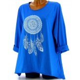 Tunique grande taille tee shirt bleu royal DREAM