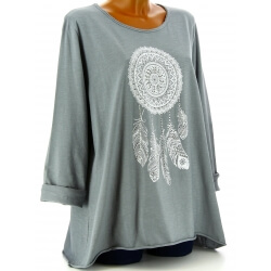 Tunique grande taille tee shirt gris DREAM