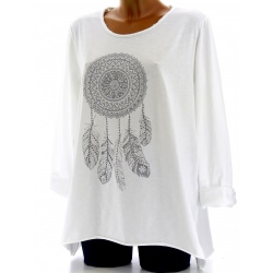 Tunique grande taille tee shirt blanc DREAM