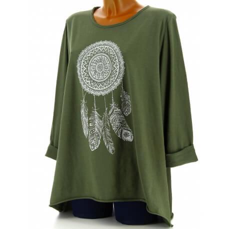 Tunique grande taille tee shirt kaki DREAM