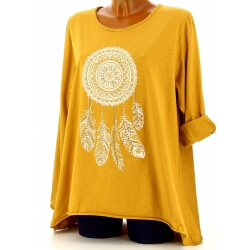 Tunique grande taille tee shirt safran DREAM