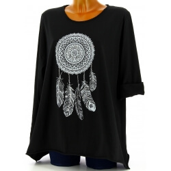 Tunique grande taille tee shirt noir DREAM