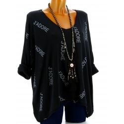 Tunique grande taille tee shirt noir JADORE