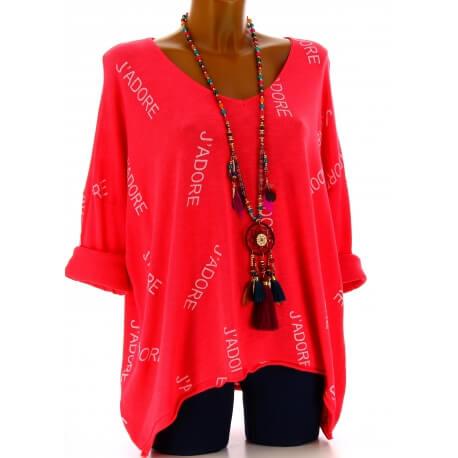 Tunique grande taille tee shirt corail JADORE