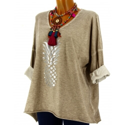 Tunique tee shirt femme grande taille taupe ANANAS
