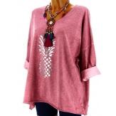 Tunique tee shirt femme grande taille bordeaux ANANAS